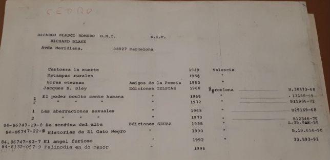 listado de obra registrada en CEDRO 1